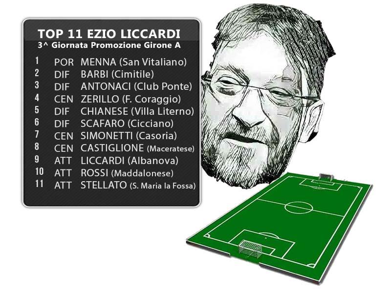 La Top 11 di Ezio Liccardi: 3^ Giornata Promozione Girone A
