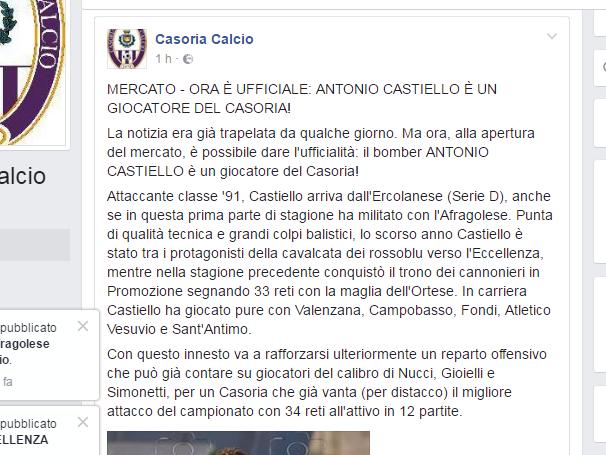 UFFICIALE – Castiello è un nuovo attaccante del Casoria. Confermata la nostra esclusiva