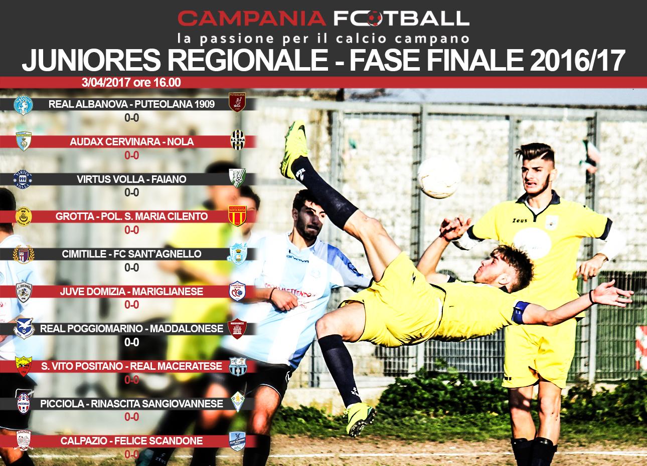 Juniores Regionale Fase Finale: i tabellini dei 10 match del 1° Turno