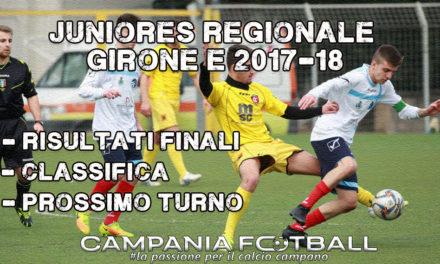 JUNIORES REGIONALE GIRONE E, 13ª GIORNATA: risultati, classifica e prossimo turno