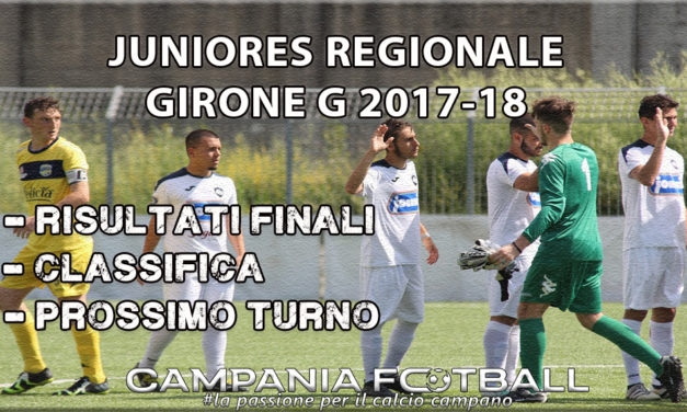 JUNIORES REGIONALE GIRONE G, 13ª GIORNATA: risultati, classifica e prossimo turno