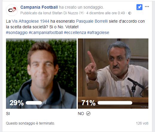 SONDAGGIO | Secondo il 71% dei votanti l'Afragolese non doveva esonerare Borrelli