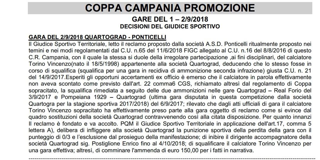 Coppa Italia Promozione, avanza il Ponticelli grazie al ricorso