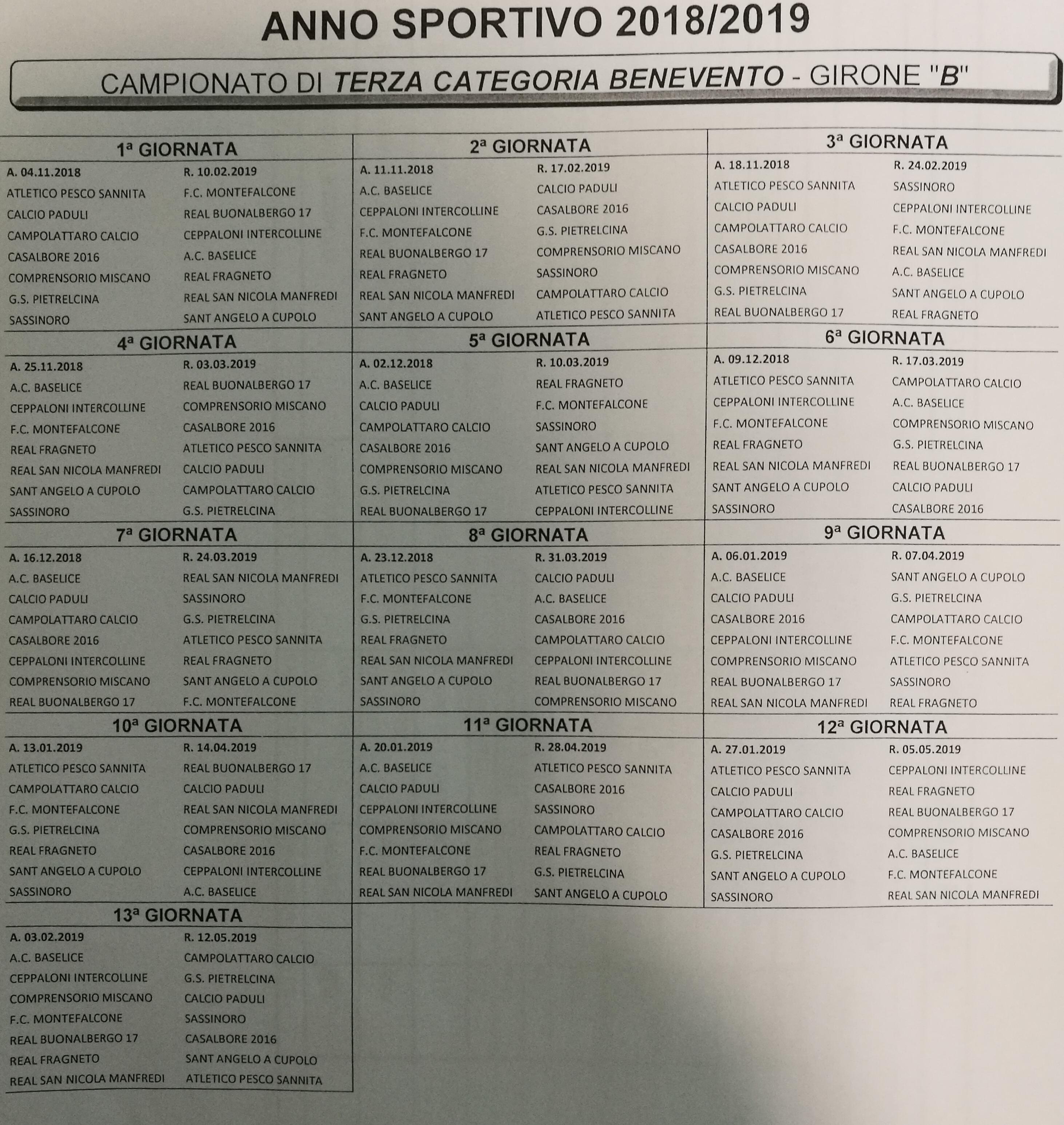 Calendario Lega Pro Girone B Anticipi E Posticipi.Terza Categoria Girone B Calendario Completo Stagione 2018