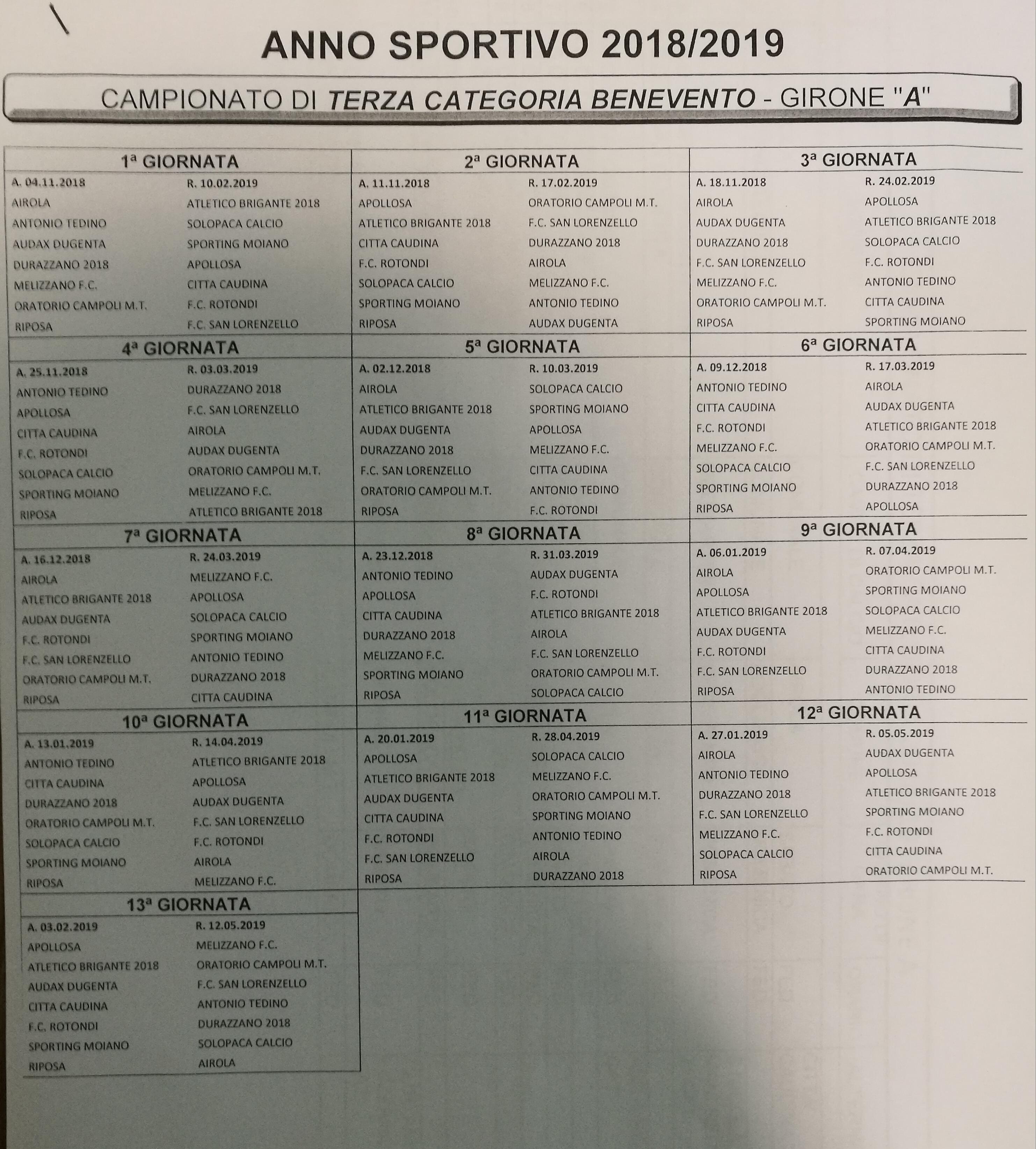 Benevento Calendario.Terza Categoria Benevento Girone A Calendario Completo 2018