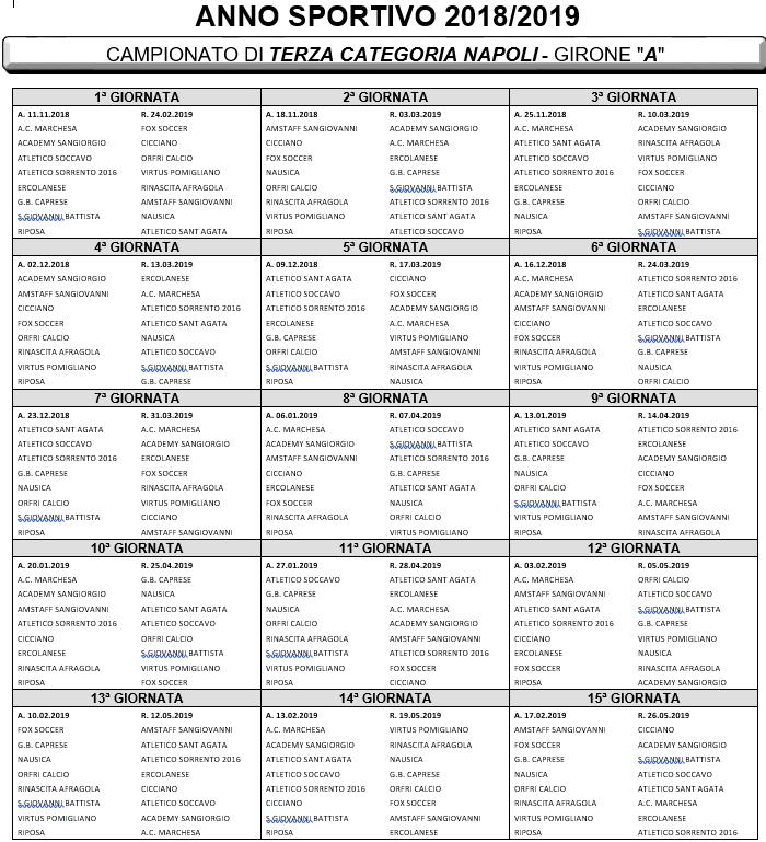 Calendario Terza Categoria.Terza Categoria Napoli 15 Societa Iscritte Calendario