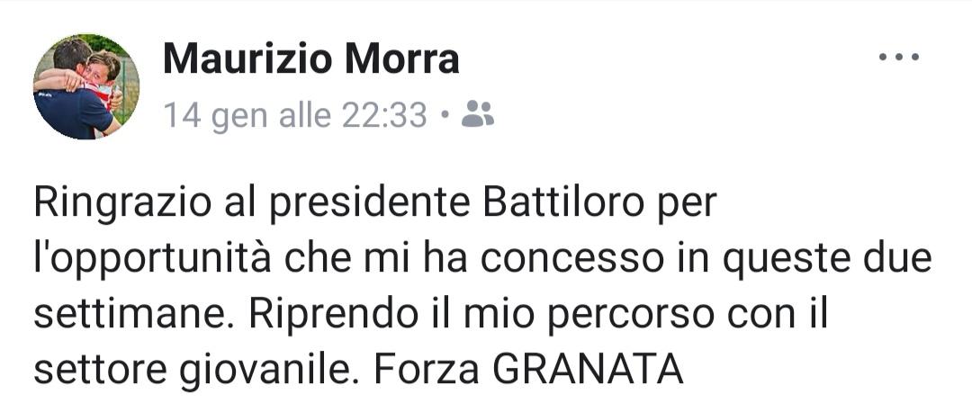 Serie D, Granata: le dimissioni di Mr. Morra arrivano via social!