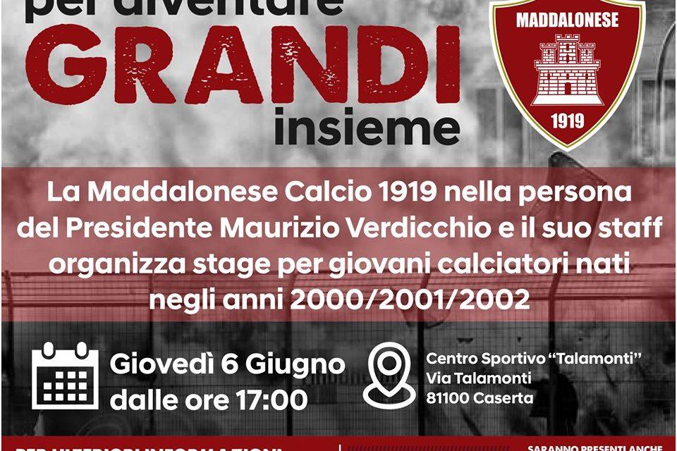 Riparte la Maddalonese: il 6 Giugno al Talamonti lo stage per i giovani calciatori