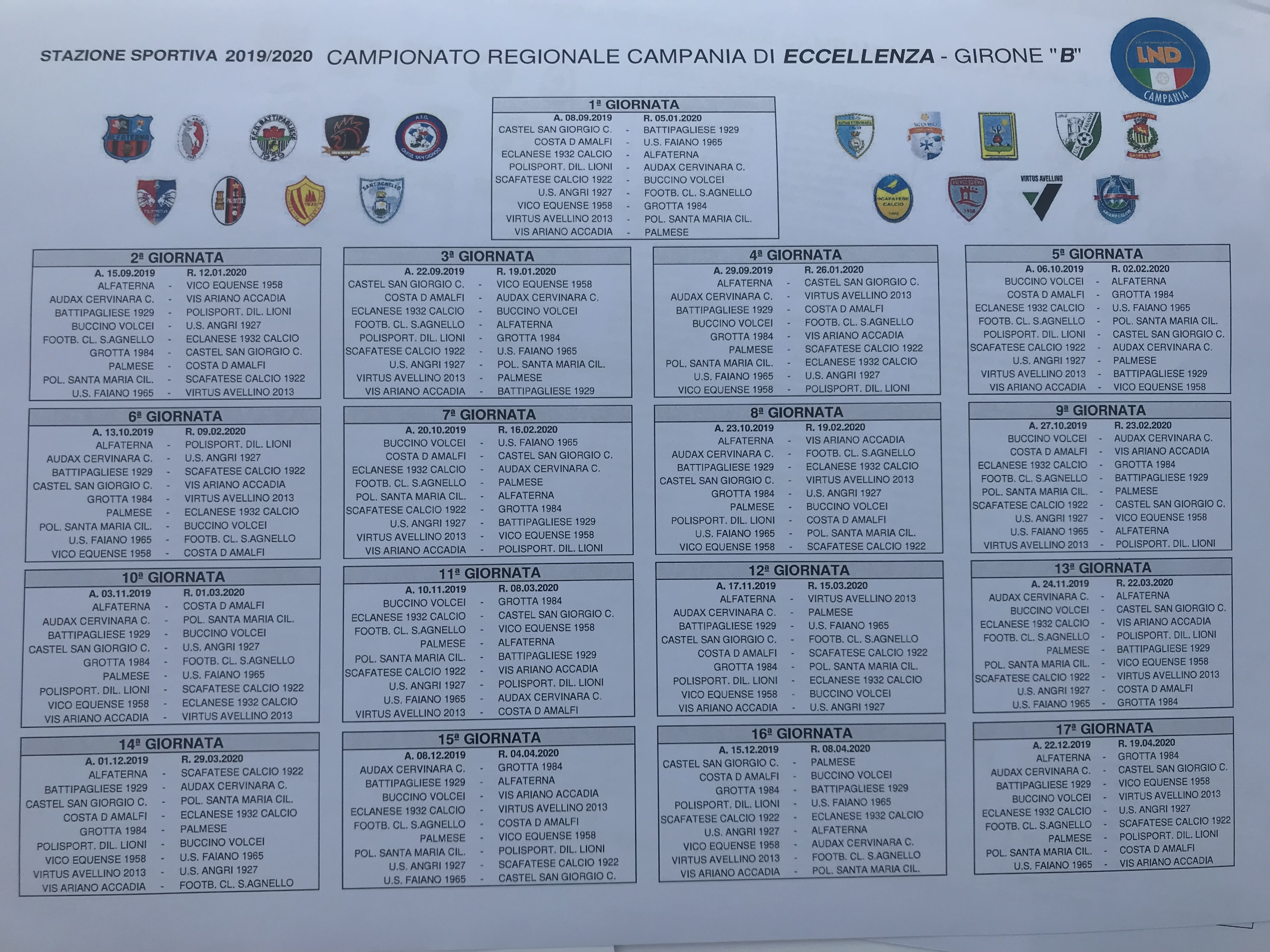 Calendario Eccellenza Girone B.Eccellenza Girone B 2019 20 Guarda Il Calendario Completo